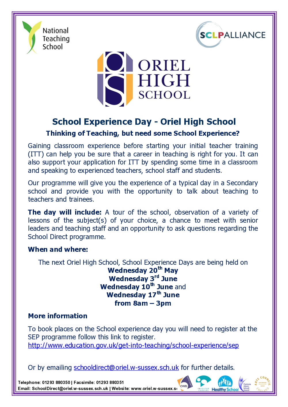 school experience day purple pedagogy school experience day flyer 1